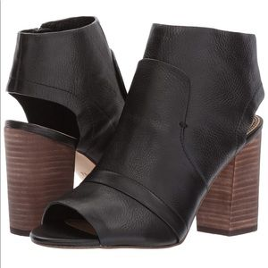 Splendid Black Leather Peep Toe Bootie